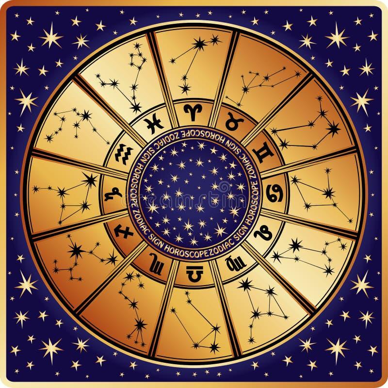 Cercle d'horoscope. Signe et constellations de zodiaque illustration libre de droits