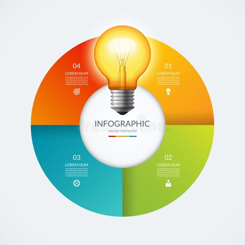 Cercle d'Infographic avec l'ampoule rougeoyante Concept créatif d'idée avec 4 options, étapes, pièces illustration stock