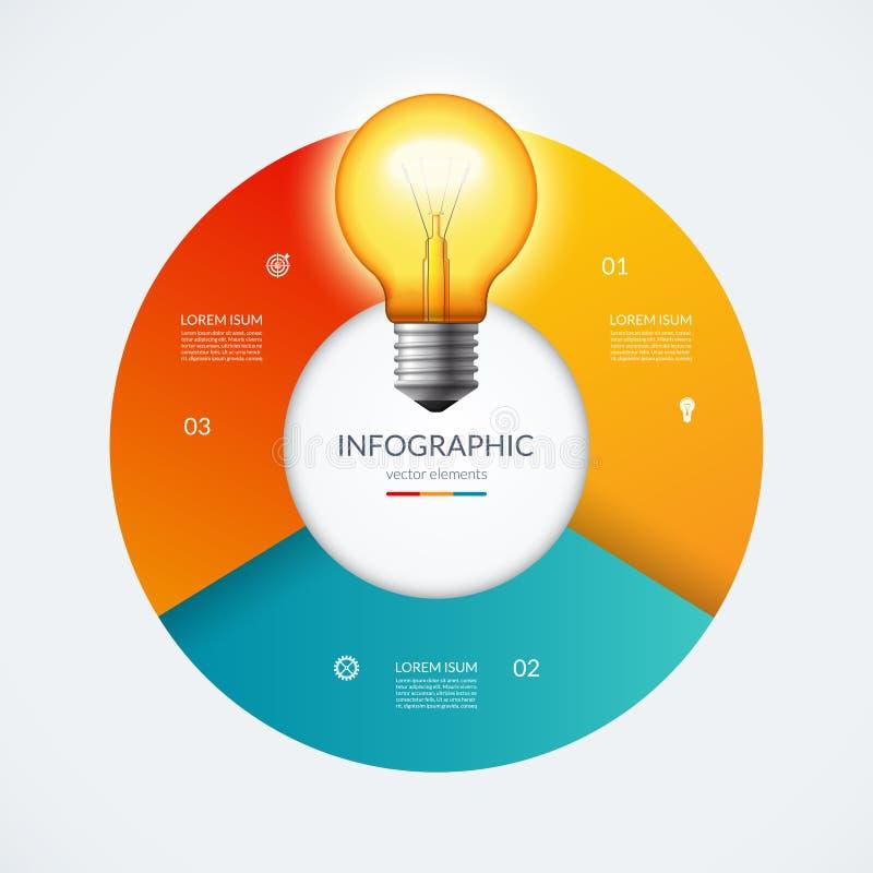 Cercle d'Infographic avec l'ampoule rougeoyante Concept créatif d'idée avec 3 options, étapes, pièces illustration de vecteur