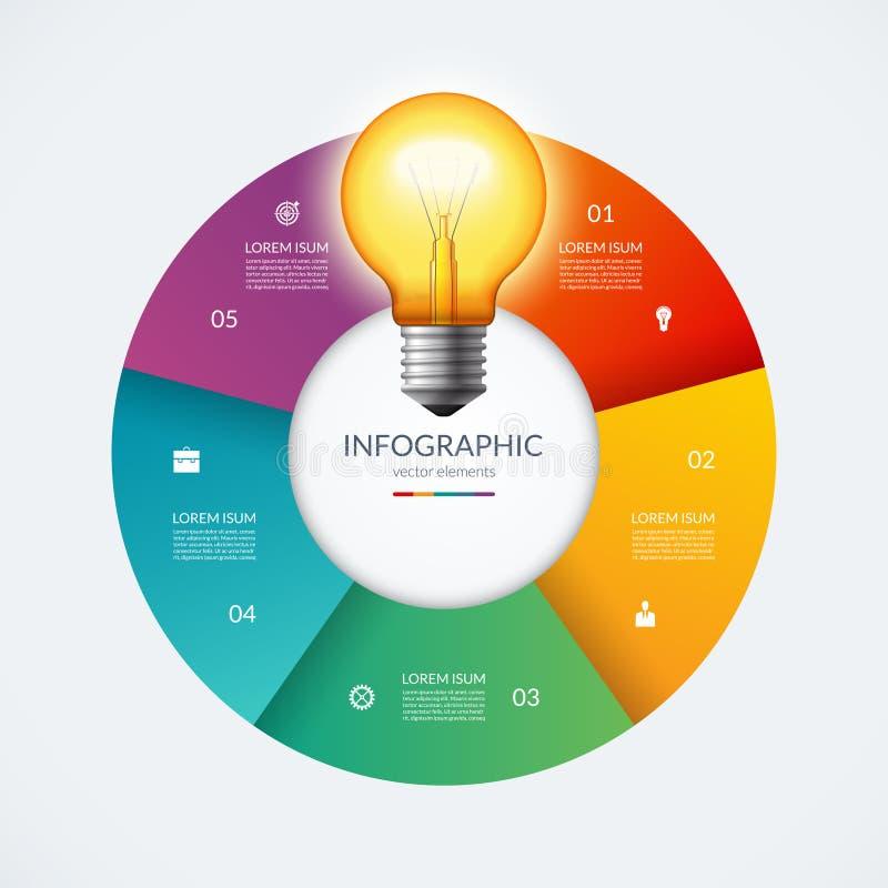 Cercle d'Infographic avec l'ampoule rougeoyante Concept créatif d'idée avec 5 options, étapes, pièces illustration de vecteur