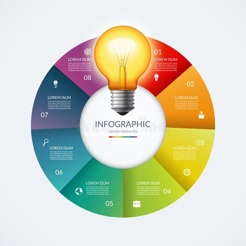 Cercle d'Infographic avec l'ampoule rougeoyante Concept créatif d'idée avec 8 options, étapes, pièces illustration libre de droits