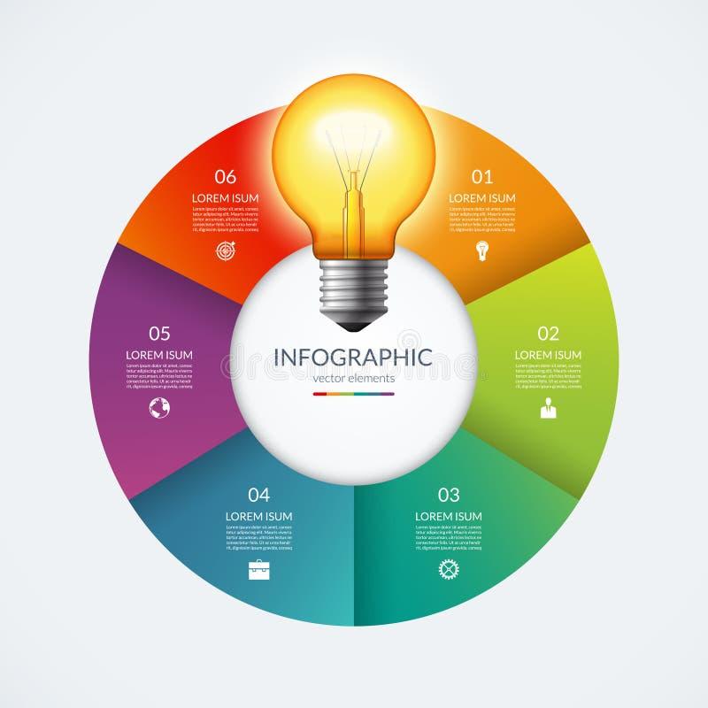Cercle d'Infographic avec l'ampoule rougeoyante Concept créatif d'idée avec 6 options, étapes, pièces illustration de vecteur