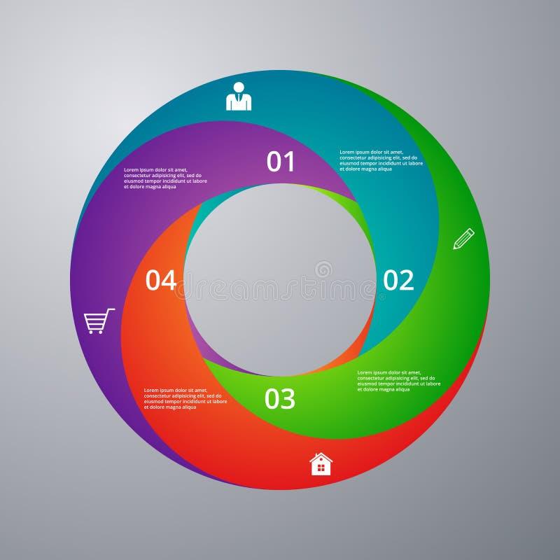 Cercle d'infographics d'illustration de vecteur avec des secteurs illustration stock