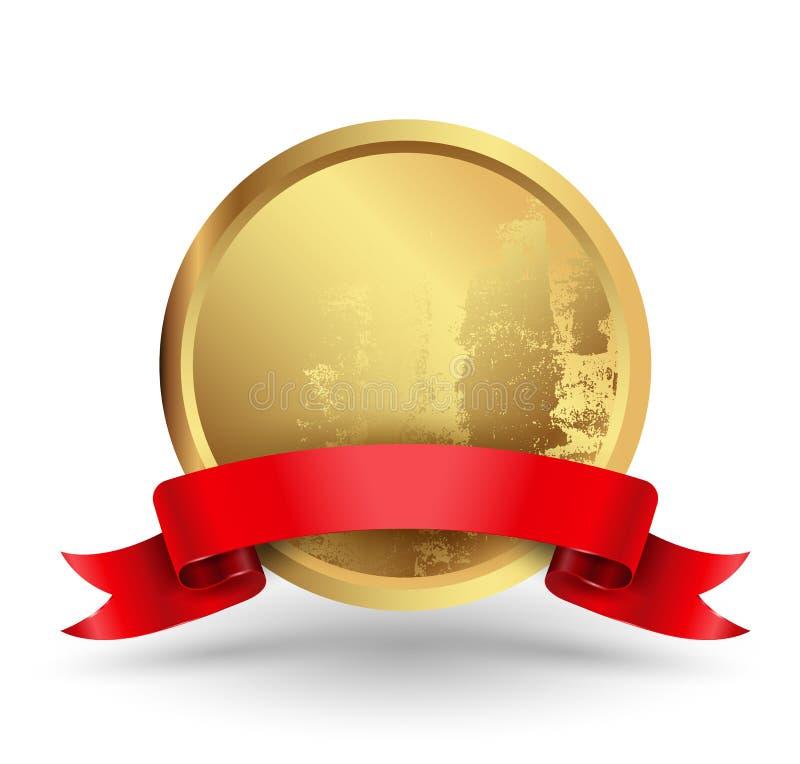 Cercle d'insigne avec le ruban rouge illustration de vecteur