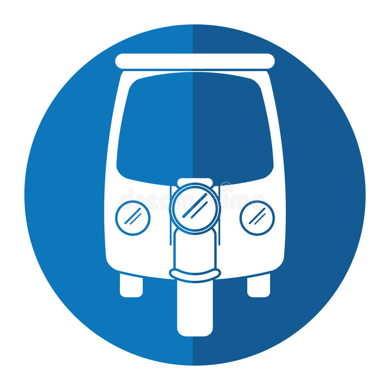 Cercle de bleu de tricycle de transport de pousse-pousse de moteur illustration libre de droits