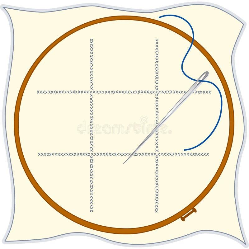 cercle de broderie de +EPS, Croix-point, pointeau et Threa illustration stock