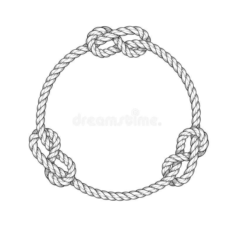 Cercle de corde - cadre de corde ronde de vintage avec des noeuds illustration stock