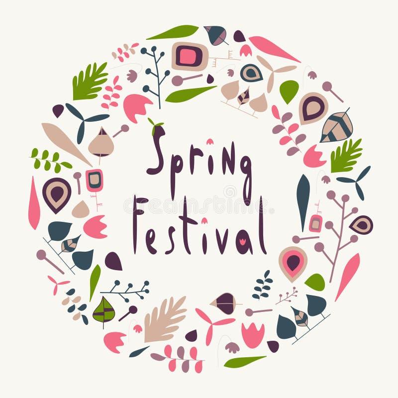 Cercle de festival de printemps illustration de vecteur