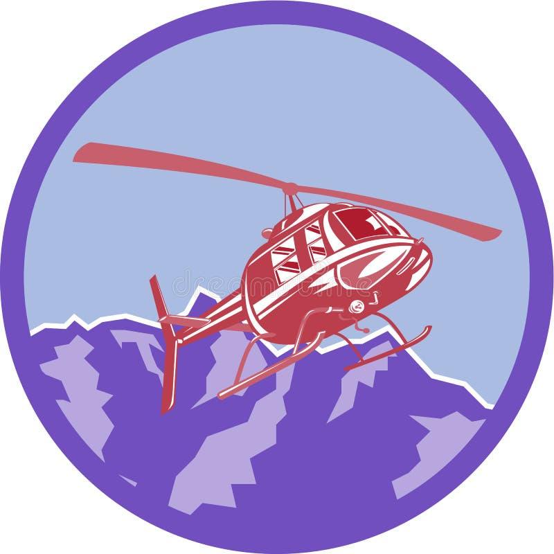 Cercle de montagnes d'Alpes d'hélicoptère rétro illustration libre de droits