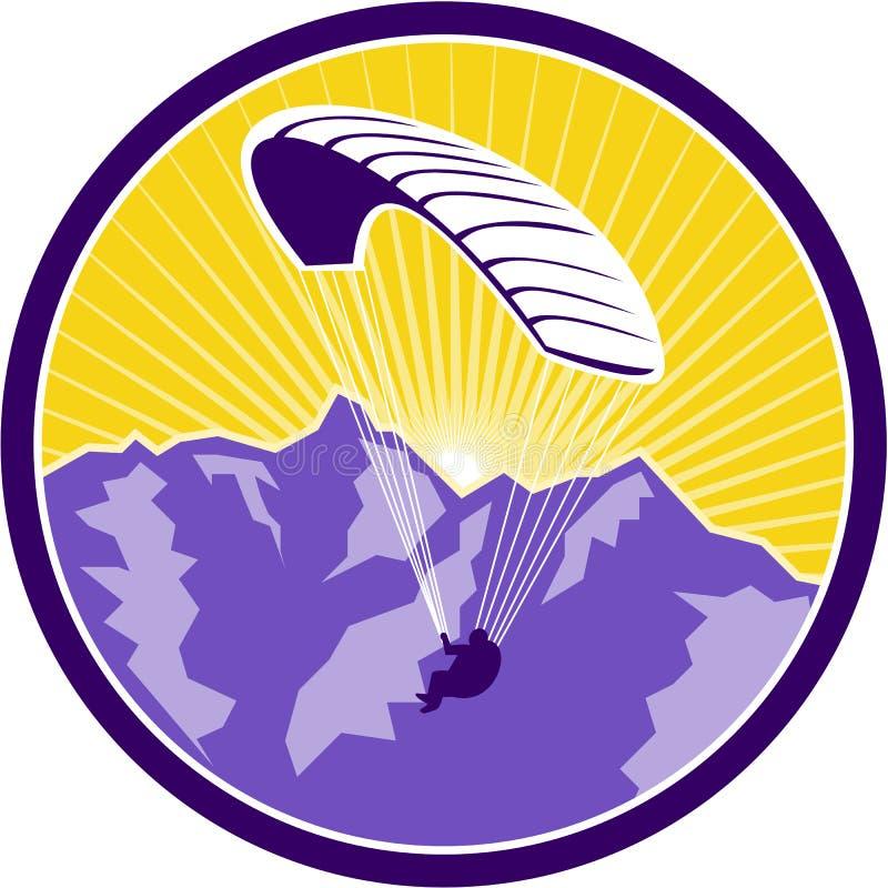 Cercle de montagnes d'Alpes de parapentisme rétro illustration libre de droits