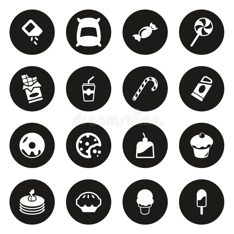 Cercle de noir de sucre ou de Sugar Food Icons White On illustration libre de droits