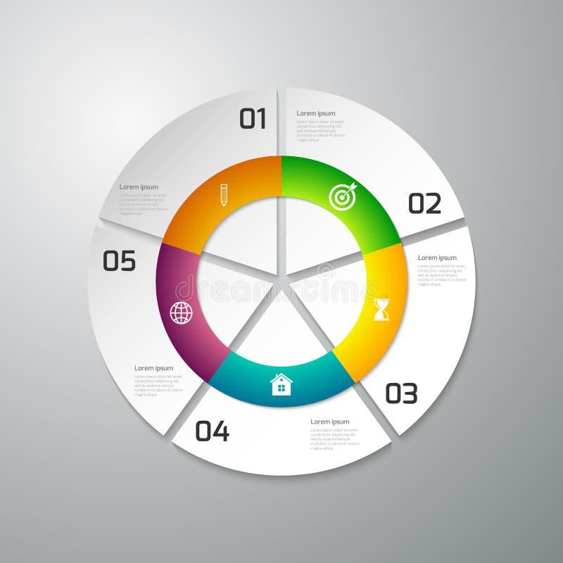 Cercle de papier d'infographics d'illustration de vecteur divisé illustration de vecteur