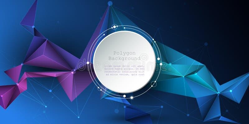 Cercle de papier de l'abrégé sur 3d illustration avec des molécules, lignes, géométriques, polygone, modèle de triangle illustration libre de droits