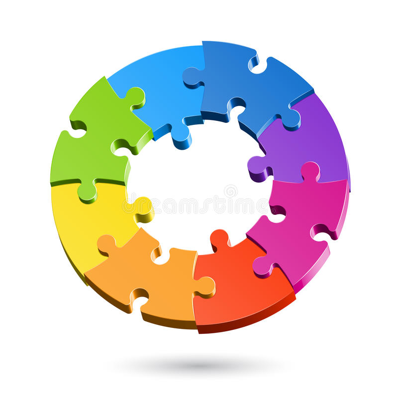 Cercle de puzzle denteux illustration stock