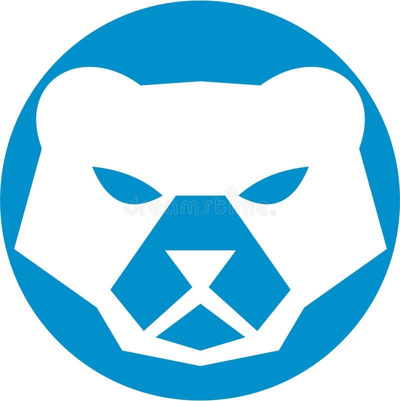 Cercle de tête d'ours blanc rétro illustration libre de droits