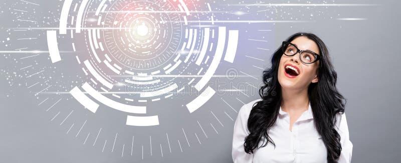 Cercle de technologie de Digital avec la jeune femme d'affaires heureuse photos libres de droits