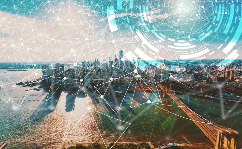 Cercle de technologie de Digital avec New York City photo stock