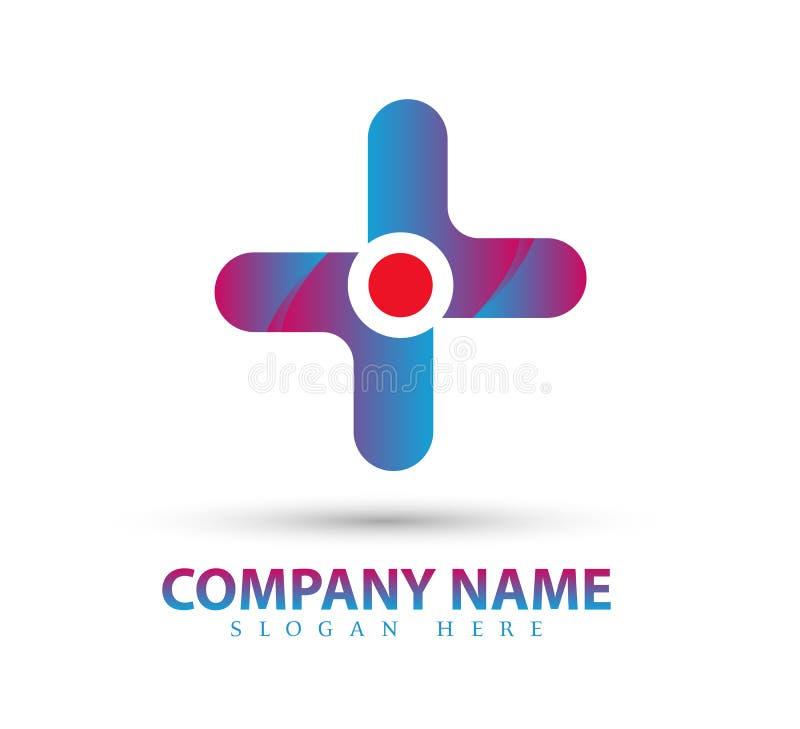 Cercle de vecteur avec le symbole croisé, soin, beauté Logo Icon Design médical illustration libre de droits