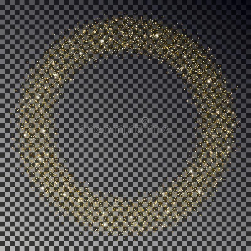 Cercle de vecteur d'étincelle de scintillement d'or Rond de la poussière d'étoile, effet de la lumière Fond de Bokeh Étoiles W de illustration libre de droits
