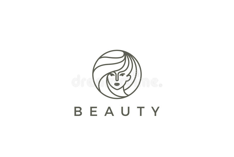Cercle de vecteur de logo de femme de salon de coiffeur de beauté illustration de vecteur