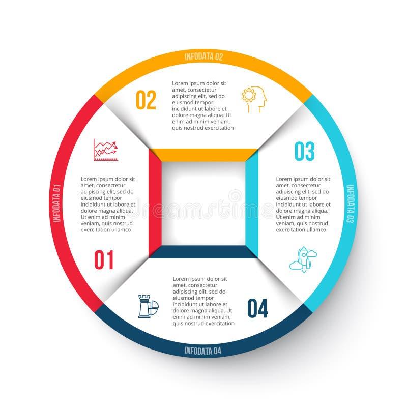 Cercle de vecteur infographic avec 4 options illustration stock
