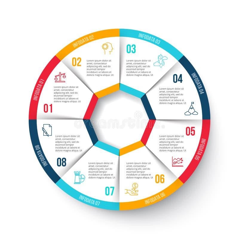 Cercle de vecteur infographic avec 8 options illustration libre de droits