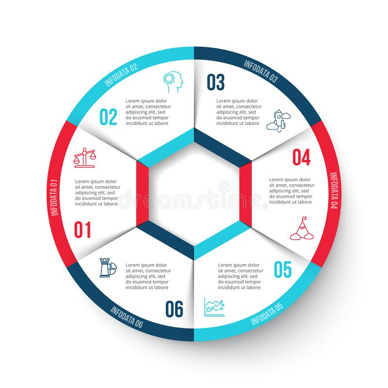 Cercle de vecteur infographic avec 6 options illustration libre de droits