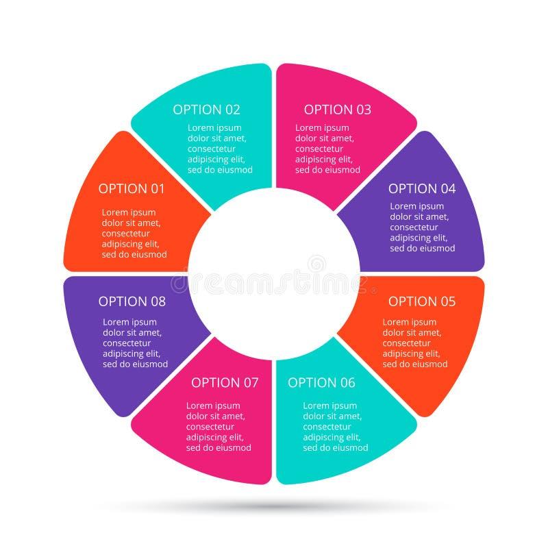 Cercle de vecteur infographic Calibre pour le diagramme de cycle, le graphique, la pr?sentation et le diagramme rond Concept d'af illustration stock