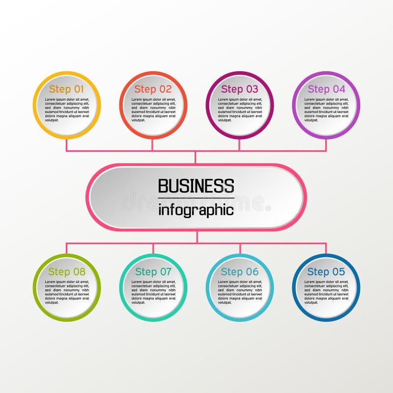 Cercle de vecteur infographic Diagrammes, présentations et diagrammes d'affaires Fond illustration stock
