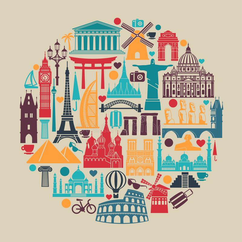 Cercle des attractions touristiques du monde d'icônes de symboles et des points de repère architecturaux illustration stock