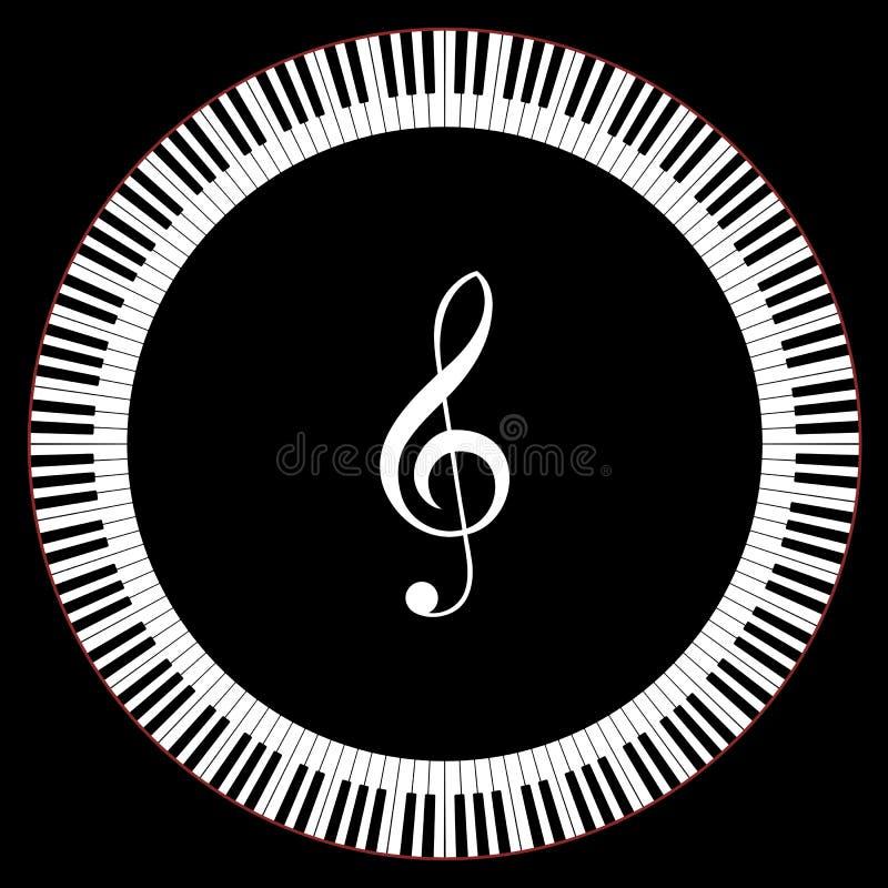 Cercle des clés de piano illustration de vecteur