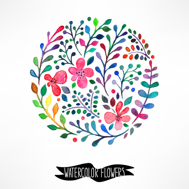 Cercle des fleurs d'aquarelle illustration de vecteur