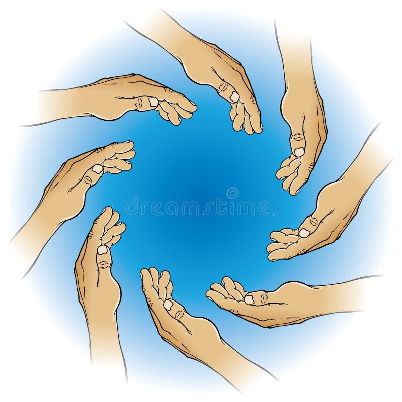Cercle des mains illustration de vecteur
