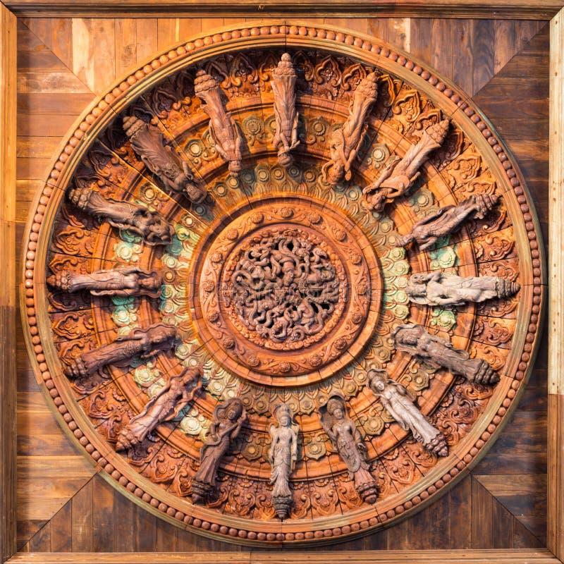 Cercle en bois de symbole de religion et d'art Pattaya thailand photographie stock libre de droits