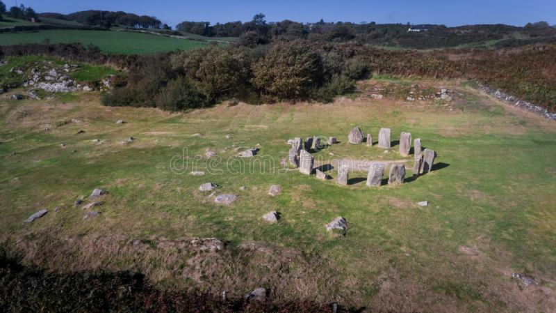 Cercle en pierre de Drombeg de vue aérienne Liège du comté l'irlande images libres de droits