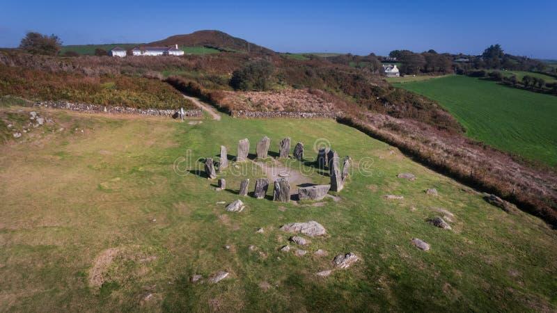Cercle en pierre de Drombeg de vue aérienne Liège du comté l'irlande photos libres de droits
