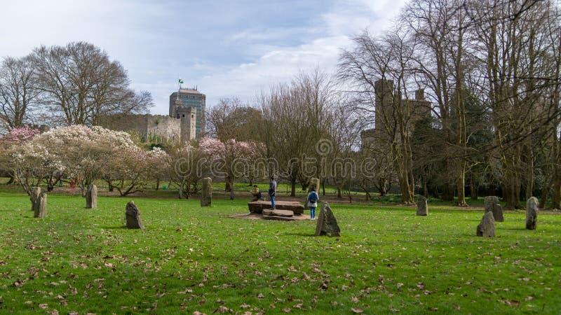 Cercle en pierre de Gorsedd de parc de Bute images stock