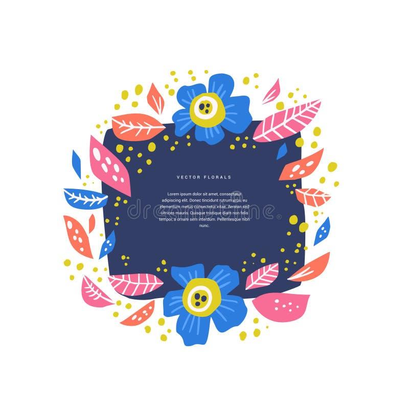 Cercle floral avec la disposition tirée par la main de l'espace des textes illustration stock