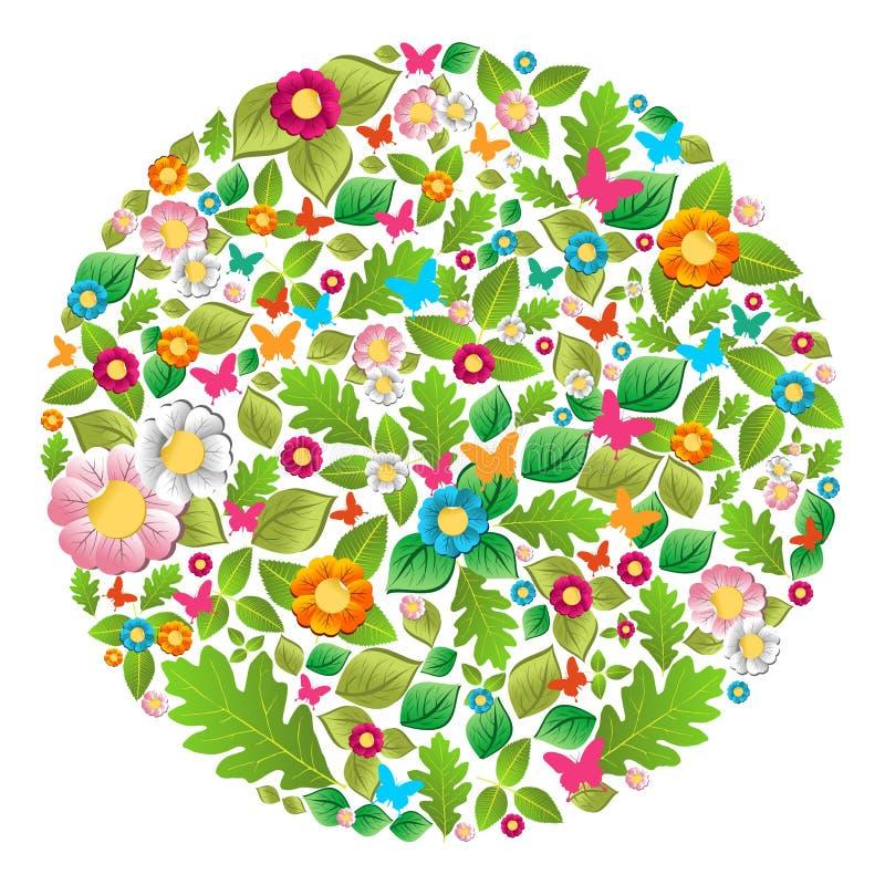 Cercle floral de source et d'été illustration de vecteur