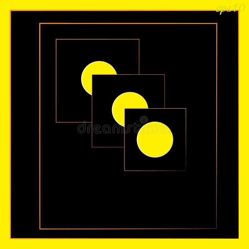 Cercle géométrique d'abstraction inscrit dans le noir et le jaune carrés de couleur photo stock