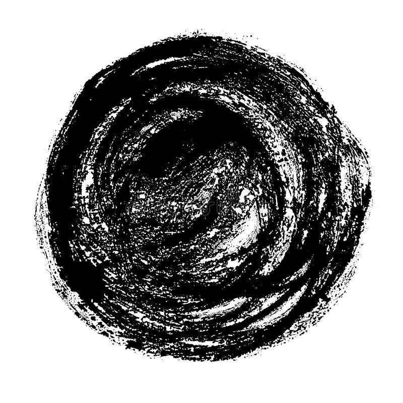 Cercle graphique tiré par la main grunge à la mode Courses et texture minables de brosse Forme d'isolement à l'encre noire de vec illustration libre de droits