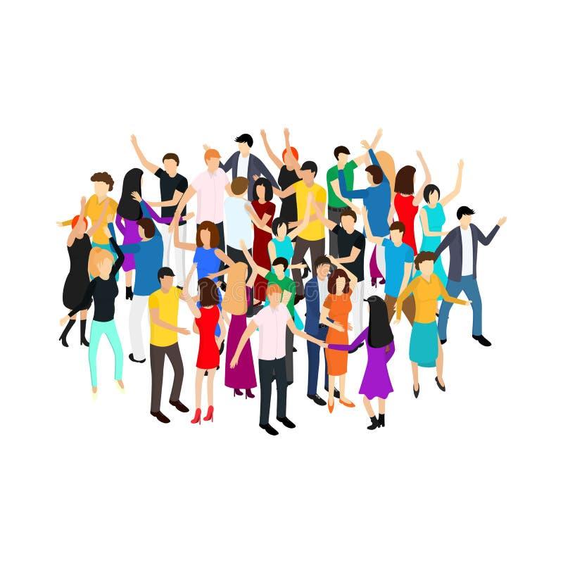Cercle isométrique de foule de caractères de personnes de danse Vecteur illustration stock