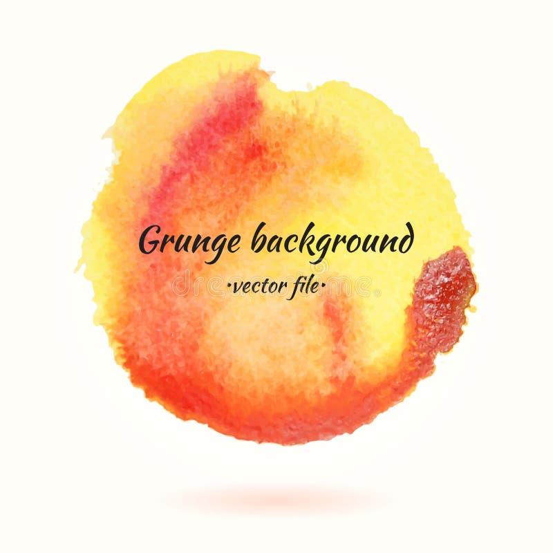 Cercle jaune et orange de vecteur grunge de fond d'aquarelle illustration de vecteur