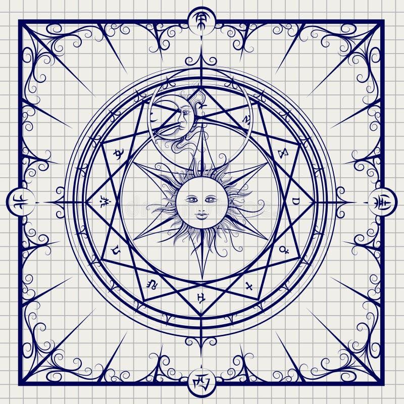 Cercle magique d'alchimie sur le fond de carnet illustration de vecteur