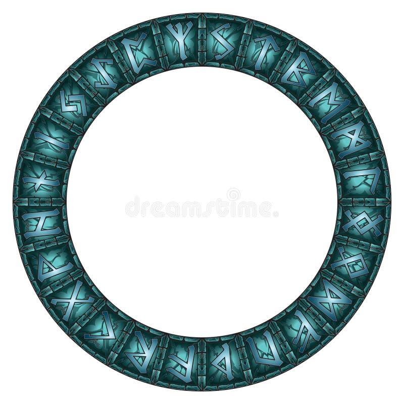 Cercle magique des runes scandinaves brillantes de pierre illustration libre de droits