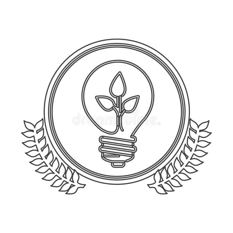 cercle monochrome de silhouette avec la branche d'olivier décorative et ampoule avec la feuille à l'intérieur illustration libre de droits