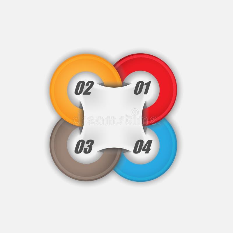 cercle 4 multicolore avec l'infographics d'affaires de vecteur de données illustration libre de droits