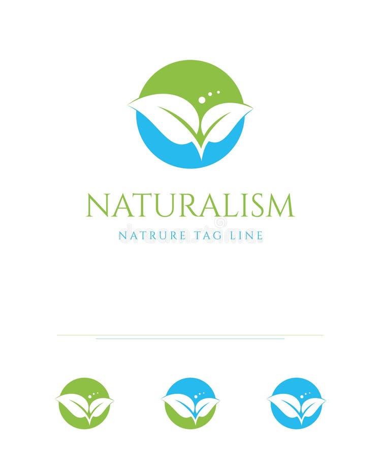 Cercle naturel Logo Design vert-bleu organique illustration libre de droits