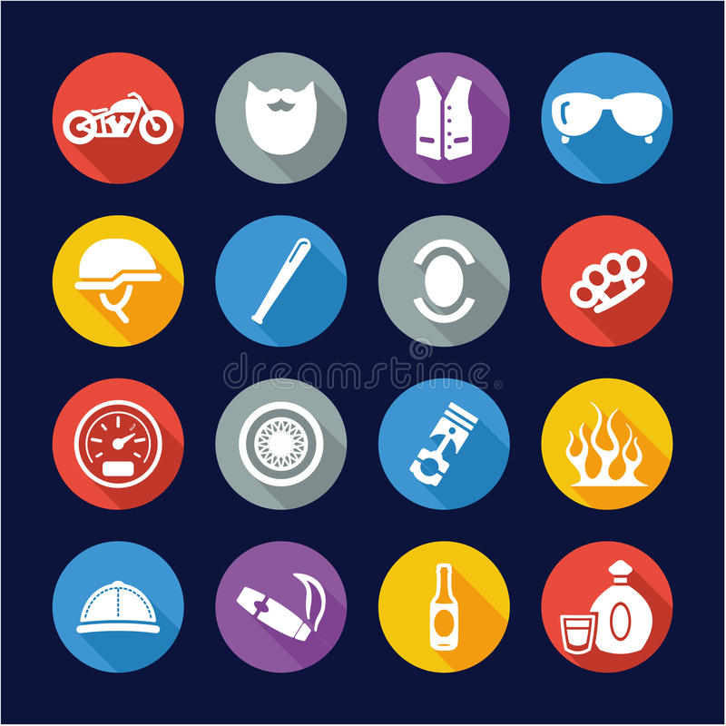 Cercle plat de conception d'icônes de club de moto illustration libre de droits