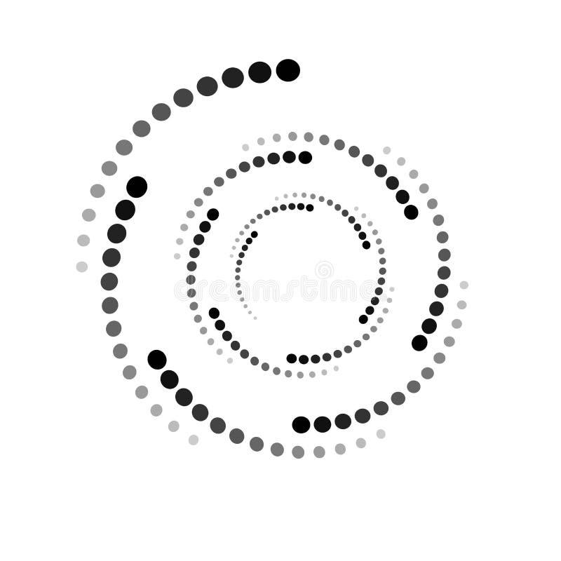 CERCLE POINTILLÉ PAR MOUVEMENT GIRATOIRE Éléments tramés de conception Vecteur d'isolement sur le fond blanc illustration libre de droits